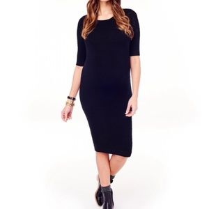 3/4 Sleeve Textured Sweater Knit Maternity Dress